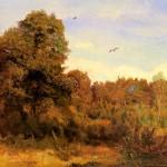 Józef Chełmoński , Krajobraz las,1900. Olej na płótnie. 72,5 x 92,5 cm.  Muzeum Narodowe we Wrocławiu.