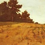 Józef Chełmoński , Skraj lasu (Pole z łubinami) 1895-1905. Olej na płótnie naklejonym na tekturę. 28,7 x 45,8 cm. Muzeum Mazowieckie w Płocku.