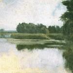 Józef Chełmoński ,Krajobraz nadwodny , olej na płótnie 29,5x40 cm