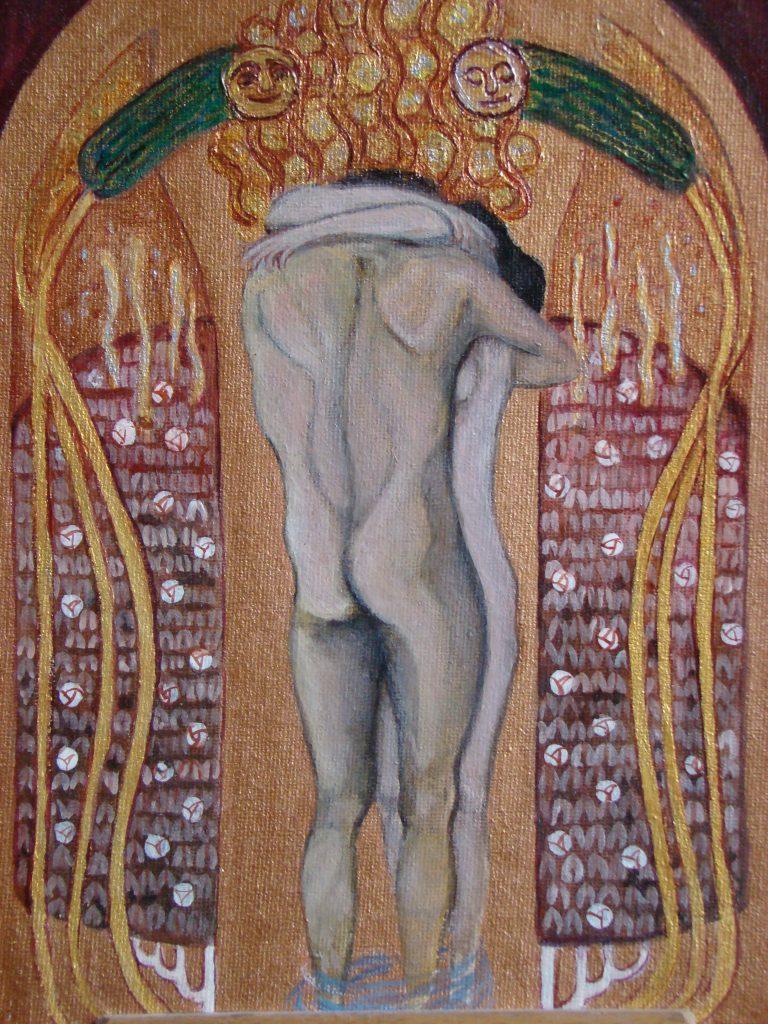 """wg G. Klimta , III cz. Fryzu Beethovena – """"Pocałunek dla całego świata""""- detal"""